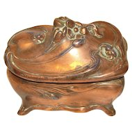Vintage Art Nouveau Jewelry Box, Copper, J. B. Jennings