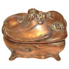 Vintage Art Nouveau Jewelry Box, Copper, J. B. Jennings