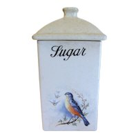 1920's Bluebird Sugar Canister, A. E. Hull  Bluebirds in Winter
