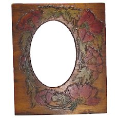 Early 20th Century Pyrography Photograph Frame, Painted Poppies