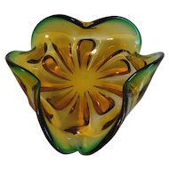 Lovely Mid-Century Green & Gold Murano Art Glass Dish Bowl Ash Tray