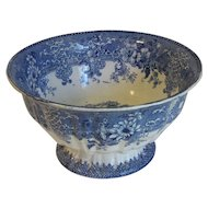 19th Century Blue Transferware Center Pedestal Bowl, Romantic Landscape