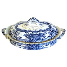 Flow Blue Vegetable Bowl w/ Lid MARLBOROUGH Keeling
