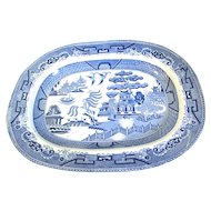 Antique Blue Willow Platter, Unmarked, English
