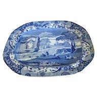 Very Large Antique Spode's Italian Blue Transferware Platter