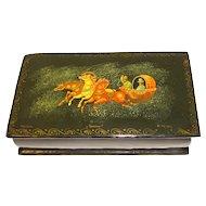 Vintage Russian Black Lacquer Trinket Box, TROIKA