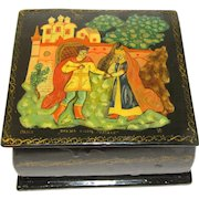 Lovely Vintage Russian Black Lacquer Trinket Box