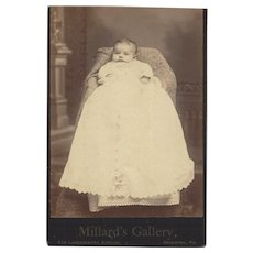 Cabinet Photograph of Baby Wearing a Long Christening Gown