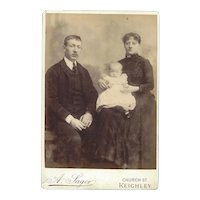 Photograph Card of Young Couple and Baby Sager