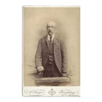 Cabinet Photograph Card, Older Bald-Headed Gentleman, Sager