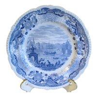 Light Blue Transferware Plate ITALIAN SCENERY, Maker Unknown