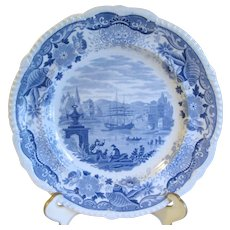 Light Blue Transferware Plate ITALIAN SCENERY, Maker Unknown