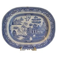 Large Antique English Blue Willow Platter, Not Marked