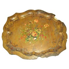 Antique English Papier Mache Tole Tray, MOP, Huge