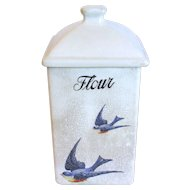 "1920""s BLUEBIRD Flour Canister, Hull Pottery"