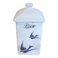 "1920""s Square Pottery Canister, BLUEBIRD Design, Hull Pottery"