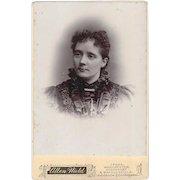 Cabinet Photograph Young Woman, Satin Dress, Bar Pin