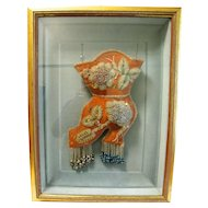 Victorian Native American Beaded Boot, Shadow Box Framed