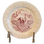 Red Transferware Staffordshire ABC Plate, Horses