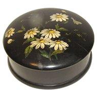 Small Vintage Black Papier Mache Trinket Box, Daisies