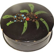 Small Black Papier Mache Sewing Box, Painted Top
