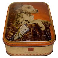 Vintage English Toffee Tin, SHARP;S, Dalmatian Puppy