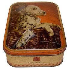 Vintage English Toffee Tin, SHARP;S, Dalmatian Puppy
