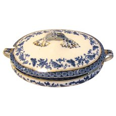 Lovely Flow Blue Sauce Tureen, BUTTERFLY, Bridgwood & Sons