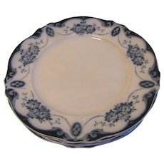 "Group of 6 Flow Blue Luncheon Plates (9 3/4""). LORAINE, Albion Pottery 1912+"