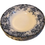 Group of 5 Flow Blue Soup Plates, CHATSWORTH, Keeling 1886+