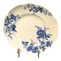 Lovely Blue Transfer Printed Floral Plate, DEVON SPRAY.  Doulton Burslem