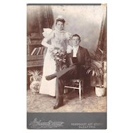 Lovely Antique Cabinet Photograph, Wedding Portrait, Bride & Groom