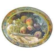 Lovely Early Vintage Tole Tray, FRUIT, Peaches and Grapes