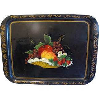 Lovely Tole Painted Black Service Tray, Basket of Colorful Fruit