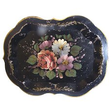 Small Vintage Tole Tray, Floral