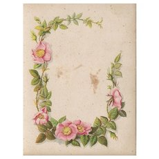 Title Page from Small Victorian Photograph Album., Wild Roses