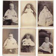 Group of Six Baby Photographs Carte-de-Visite (CDV)