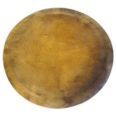 Vintage Round Carved Bread Board, Worn with Patina