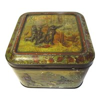 "1899 British Biscuit Tin ""With Dog & Gun""  Huntley Palmers"
