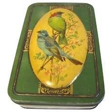 Lovely Vintage Biscuit Tin, Green with Bluebirds, Chiltonian, Ltd. London