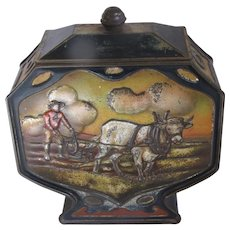 Circa 1910 Antique Biscuit Tin, COUNTRYSIDE, Huntley & Palmers