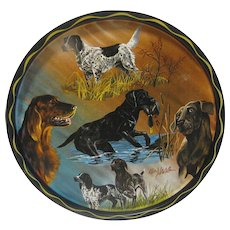 Small Round Vintage Serving Tray, Hunting Dogs