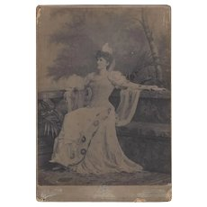 Large Victorian Photograph Card, Woman in Elegant Dress