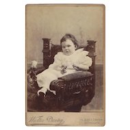 Victorian Cabinet Photograph of Baby Girl in a Massive Chair