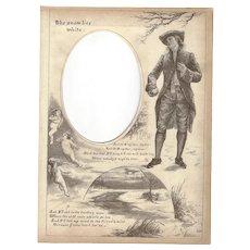 "Page from Victorian Photo Album, Sepia MonoChrome Illustration, ""The Snow Lies White"""