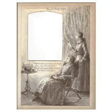 "Page from Victorian Photo Album, Sepia MonoChrome Illustration, ""Auld Lang Syne"""