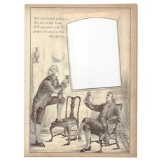 """Page from Victorian Photo Album, Sepia MonoChrome Illustration, """"Let the Toast Pass"""""""