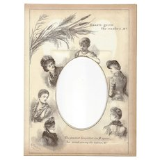 "Page from Victorian Photo Album, Sepia MonoChrome Illustration, ""Green Grow the Rashes, O"""
