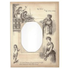 """Page from Victorian Photo Album, Sepia MonoChrome Illustration, """"He Loves & He Rides Away"""""""