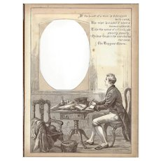 "Page from Victorian Photo Album, Sepia MonoChrome Illustration, ""If the Heart of a Man. . ."""
